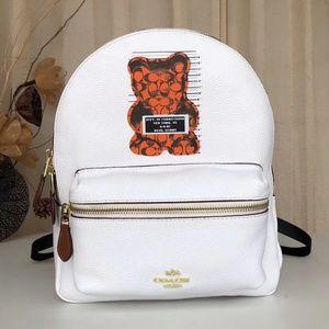 COACH Vandal Bear Leather Charlie Backpack White